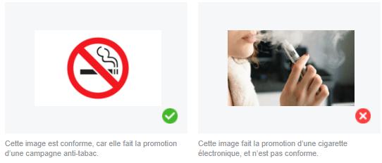 Règles publicitaires Facebook contre la promotion du tabac