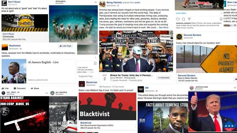 Exemples de publicités Facebook utilisées pour influencer les élections américaines de 2016