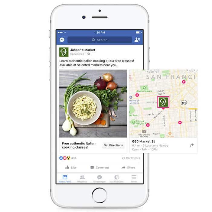 Publicité Facebook avec localisateur point de vente
