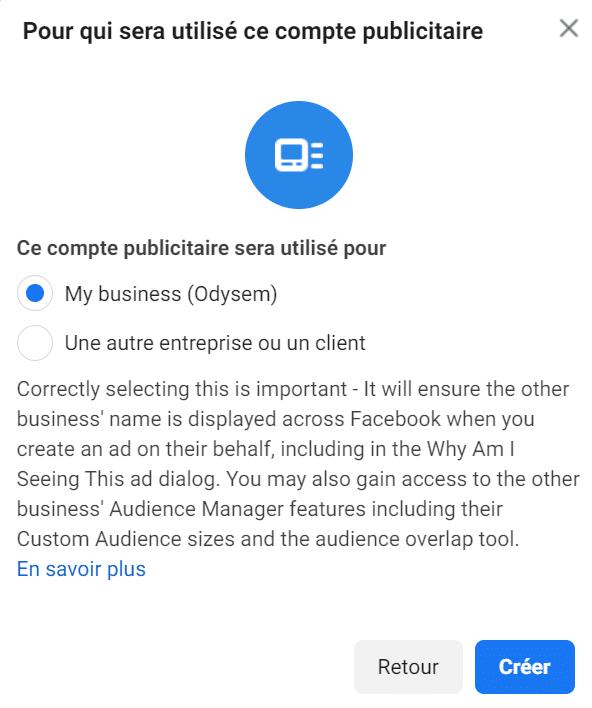 Création compte pour faire des publicités Facebook Ads