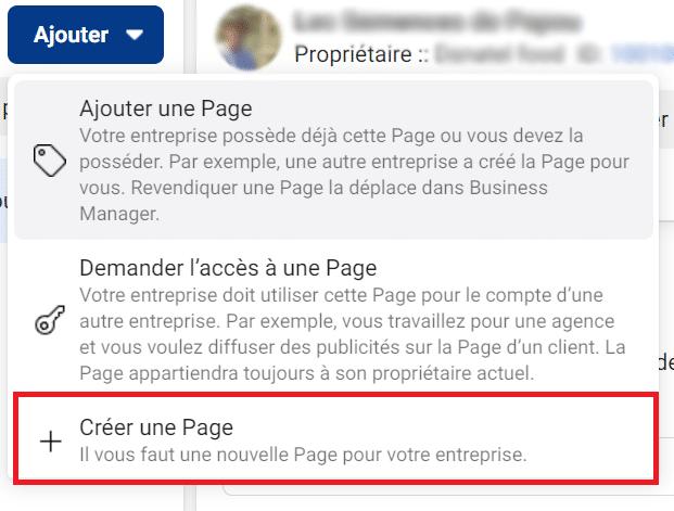 Créer une nouvelle page Facebook dans Business Manager