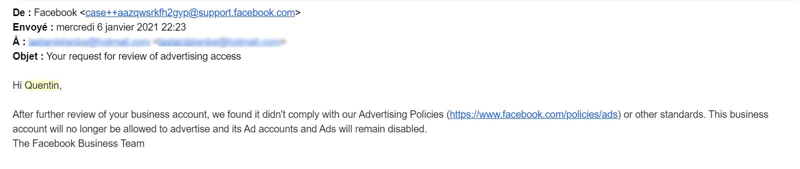 Désactivation définitive de compte publicitaire Facebook Ads