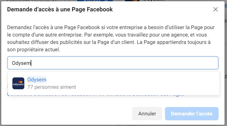Ajout page Facebook dans Business manager