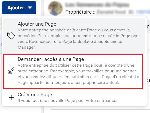Demander accès à une page Facebook dans Business Manager