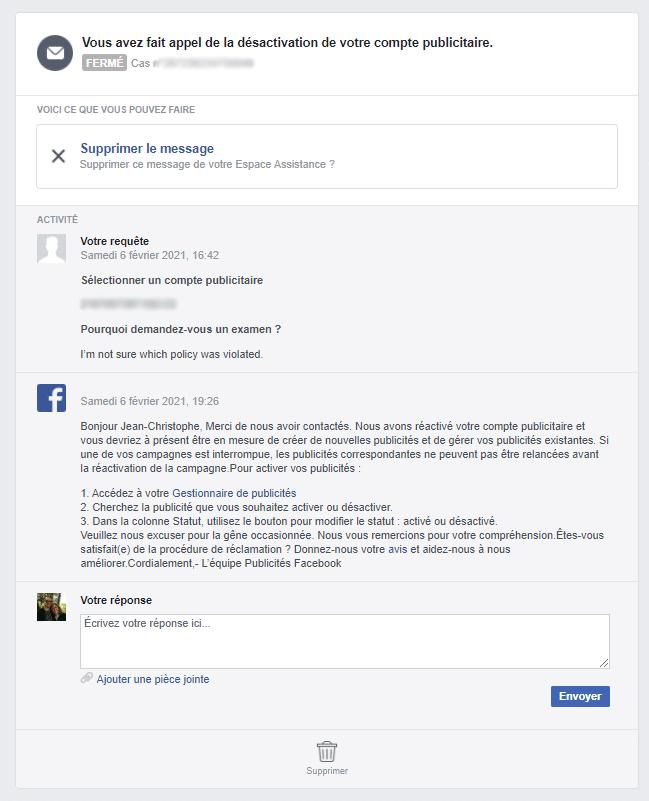 Appel de désactivation d'un compte publicitaire Facebook Ads