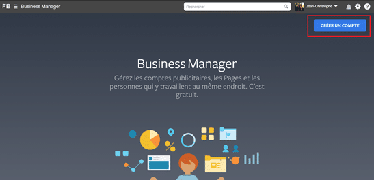 Capture d'écran expliquant la création d'un deuxième compte business manager de backup