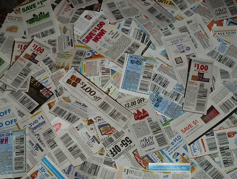 Coupons de réduction en papier