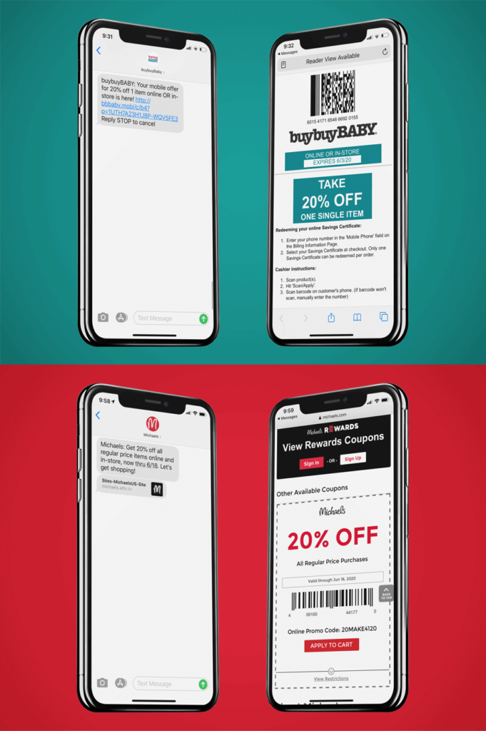 Exemples d'e-coupons sur mobile (ou m-coupons)