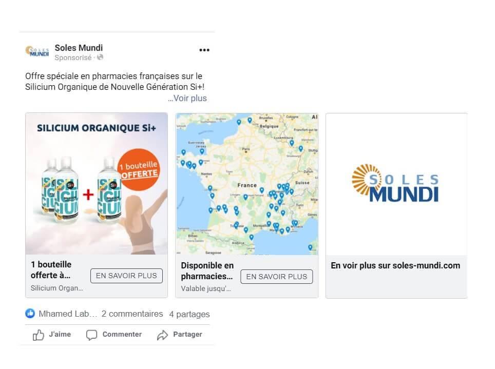 Un exemple de publicité Facebook pour attirer des clients en pharmacie