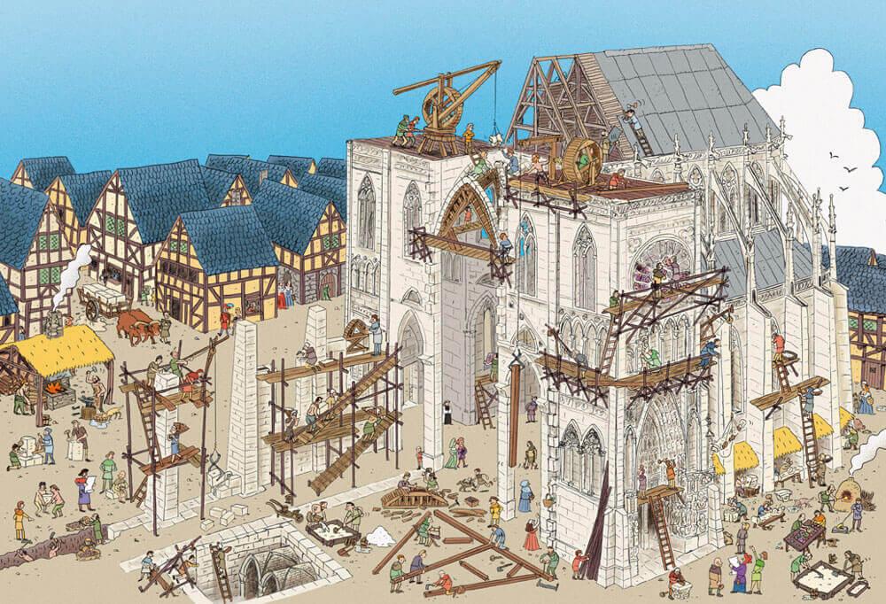 Illustration d'une cathédrale en construction