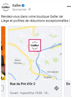 Exemple publicité Facebook Drive-to-Store avec itinéraire