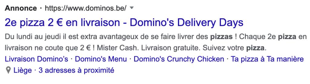 Exemple de publicité Google (SEA)