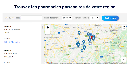 Store locator utilisé dans une landing page pour une campagne Facebook Ads Drive-to-Store